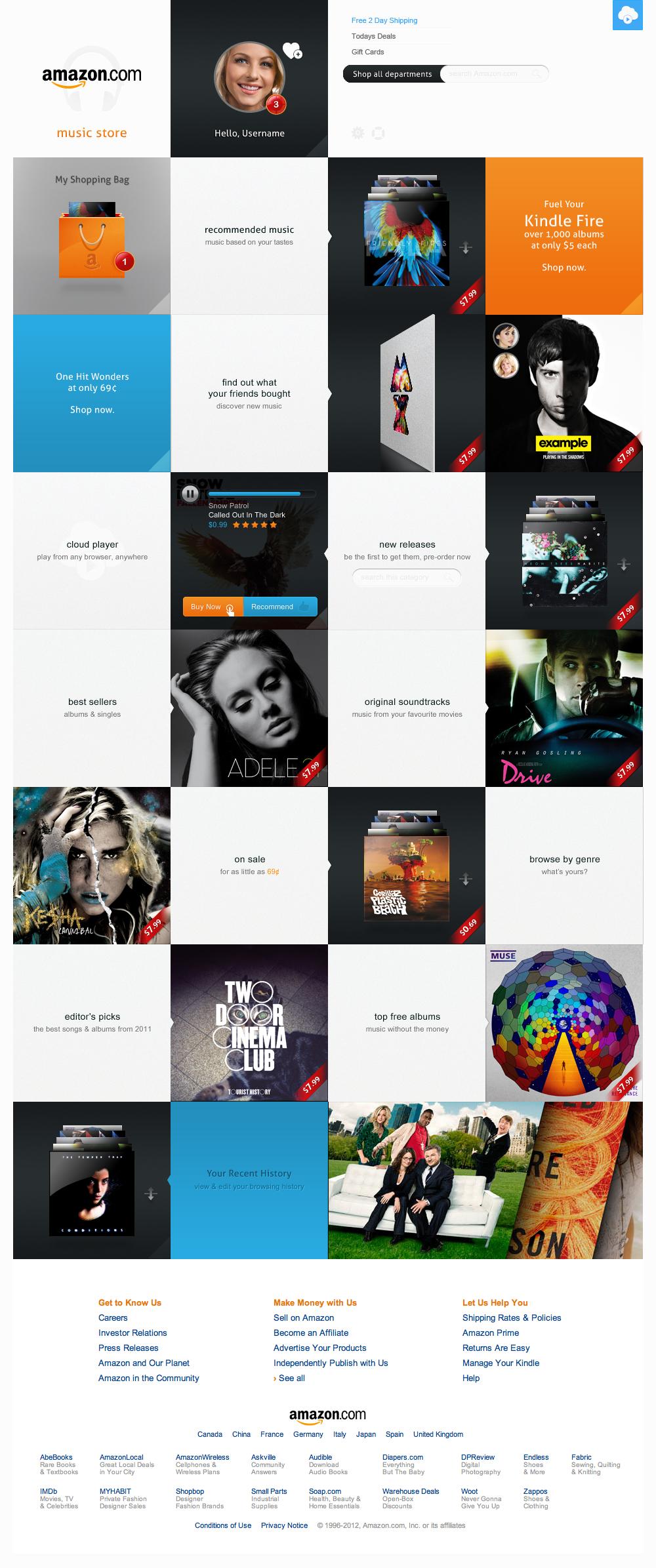 Amazon Music Store Panel Interface