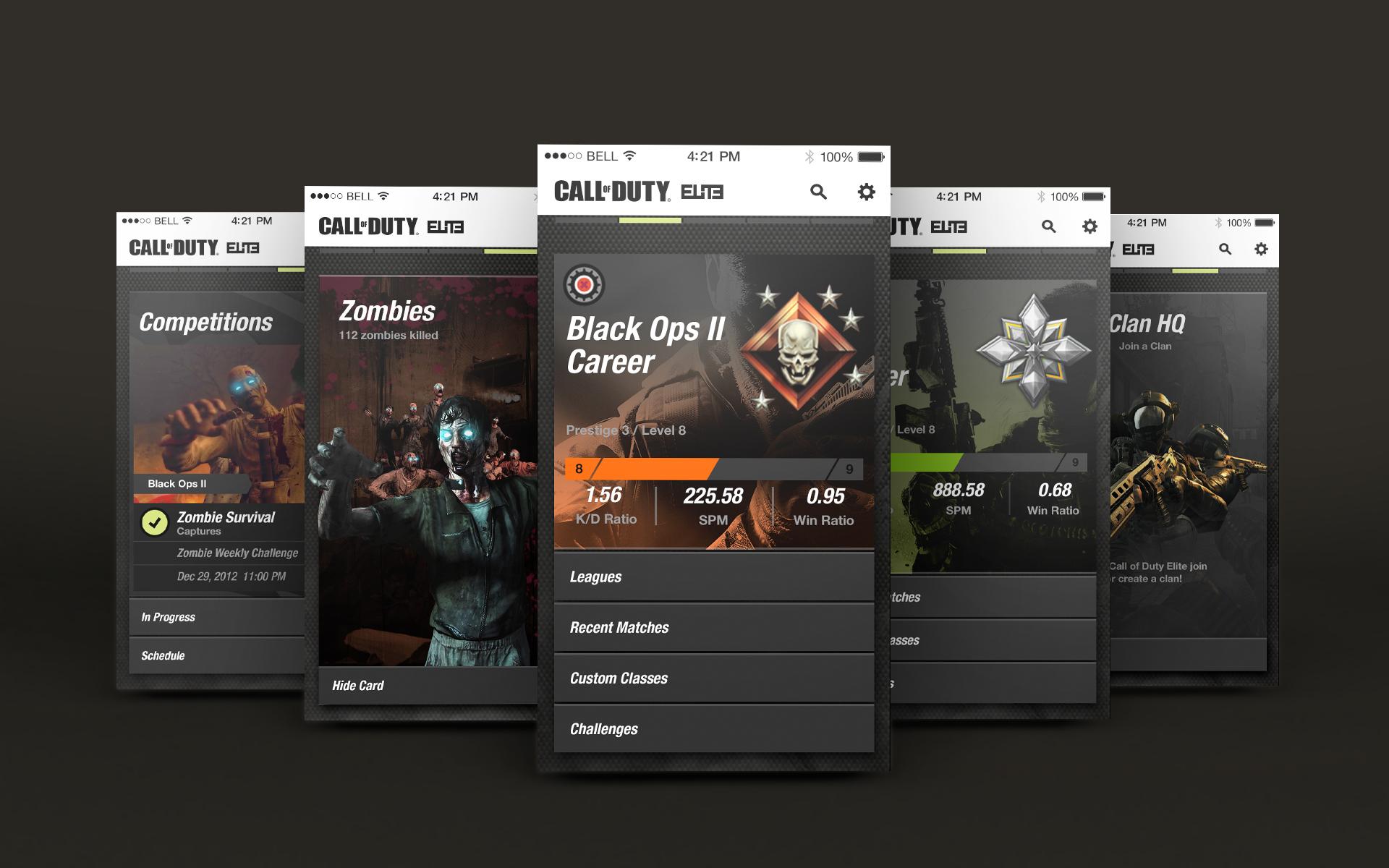 CoD Elite App - iOS Screens