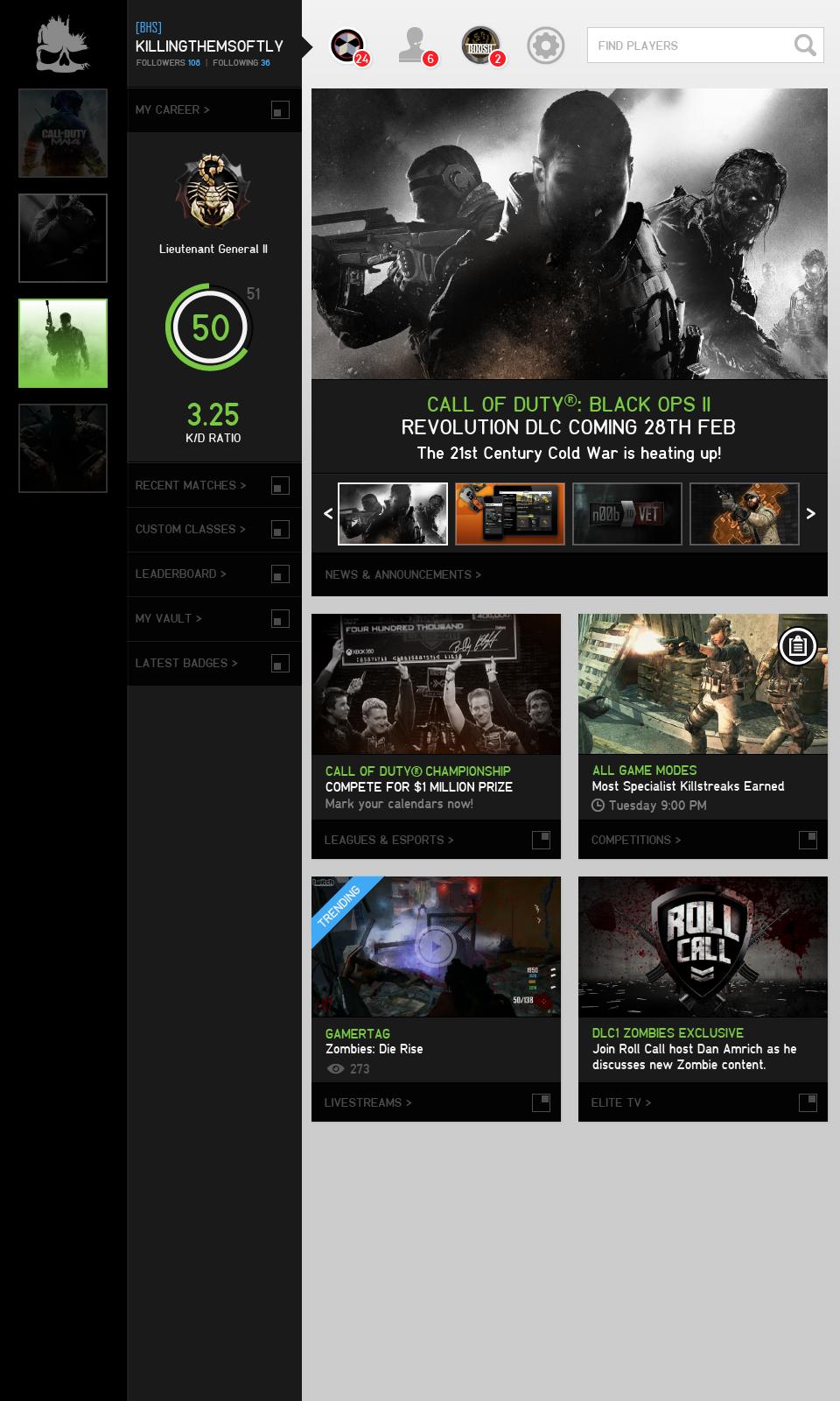 CoD Elite Homepage Redesign