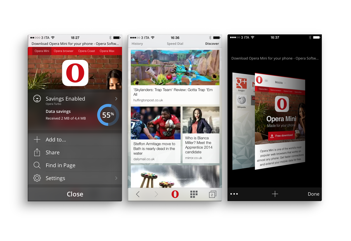 Opera Mini - iOS Screens